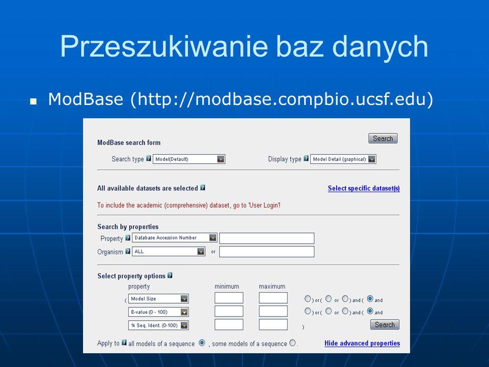 Przeszukiwanie baz danych ModBase (http://modbase.compbio.ucsf.edu)