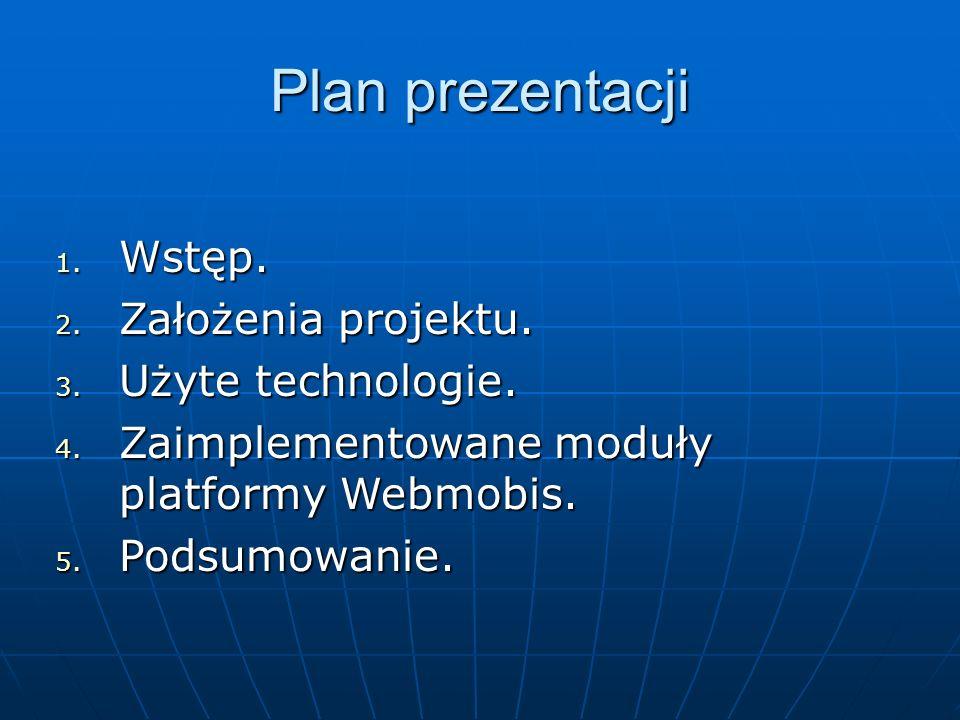Plan prezentacji 1. Wstęp. 2. Założenia projektu.