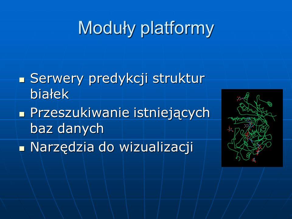 Moduły platformy Serwery predykcji struktur białek Serwery predykcji struktur białek Przeszukiwanie istniejących baz danych Przeszukiwanie istniejących baz danych Narzędzia do wizualizacji Narzędzia do wizualizacji