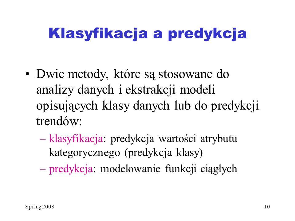 Spring 200310 Klasyfikacja a predykcja Dwie metody, które są stosowane do analizy danych i ekstrakcji modeli opisujących klasy danych lub do predykcji