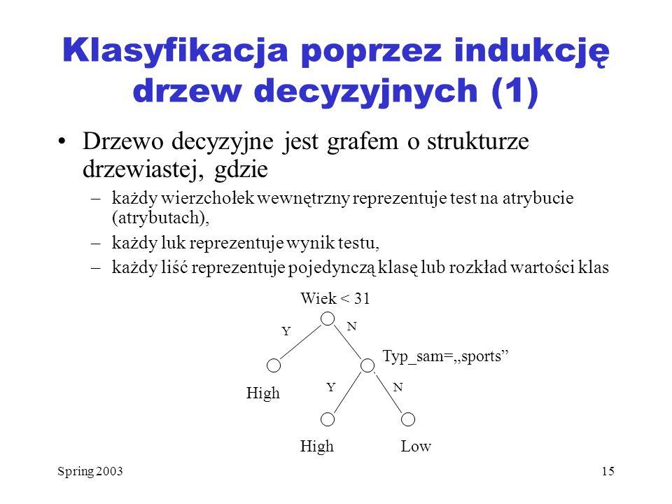 Spring 200315 Klasyfikacja poprzez indukcję drzew decyzyjnych (1) Drzewo decyzyjne jest grafem o strukturze drzewiastej, gdzie –każdy wierzchołek wewn