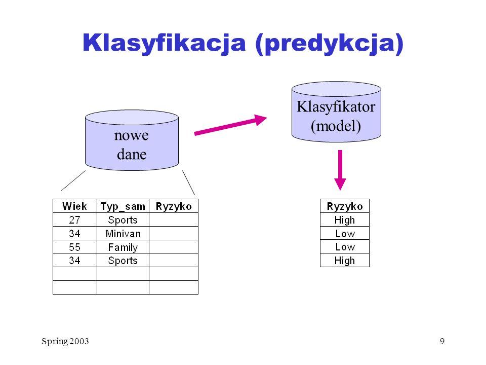 Spring 20039 Klasyfikacja (predykcja) nowe dane Klasyfikator (model)