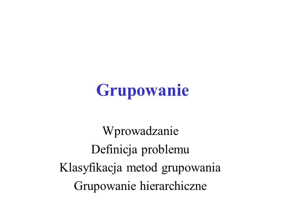 Grupowanie Wprowadzanie Definicja problemu Klasyfikacja metod grupowania Grupowanie hierarchiczne