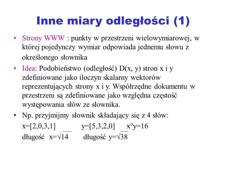 Inne miary odległości (1) Strony WWW : punkty w przestrzeni wielowymiarowej, w której pojedynczy wymiar odpowiada jednemu słowu z określonego słownika
