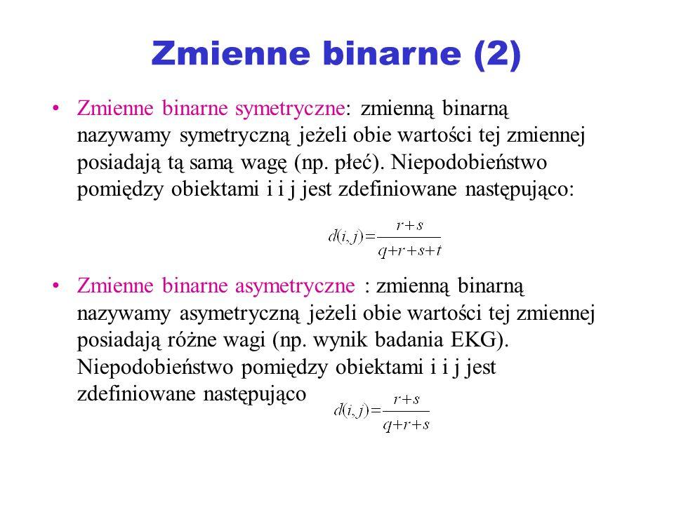 Zmienne binarne (2) Zmienne binarne symetryczne: zmienną binarną nazywamy symetryczną jeżeli obie wartości tej zmiennej posiadają tą samą wagę (np. pł