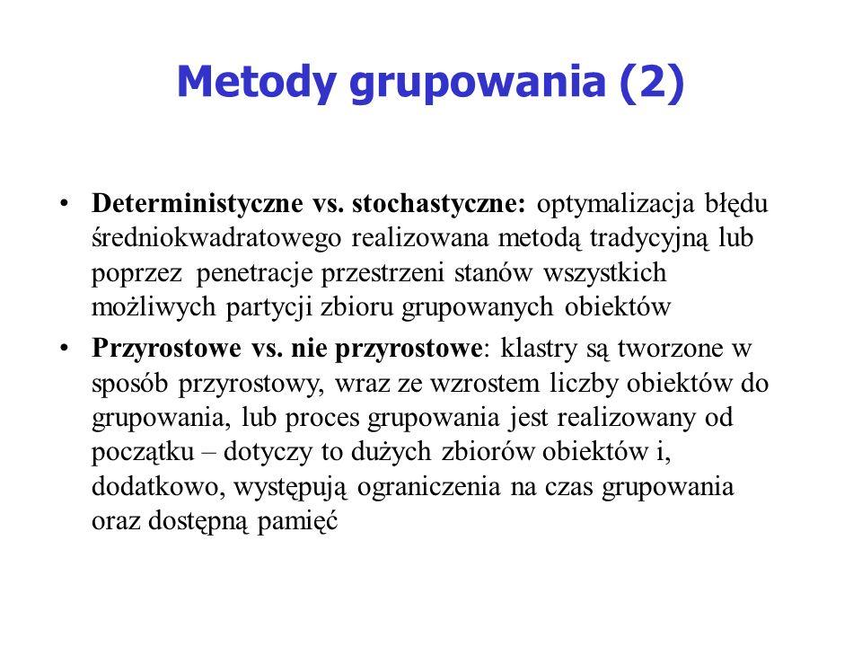 Metody grupowania (2) Deterministyczne vs. stochastyczne: optymalizacja błędu średniokwadratowego realizowana metodą tradycyjną lub poprzez penetracje