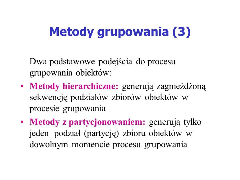 Metody grupowania (3) Dwa podstawowe podejścia do procesu grupowania obiektów: Metody hierarchiczne: generują zagnieżdżoną sekwencję podziałów zbiorów