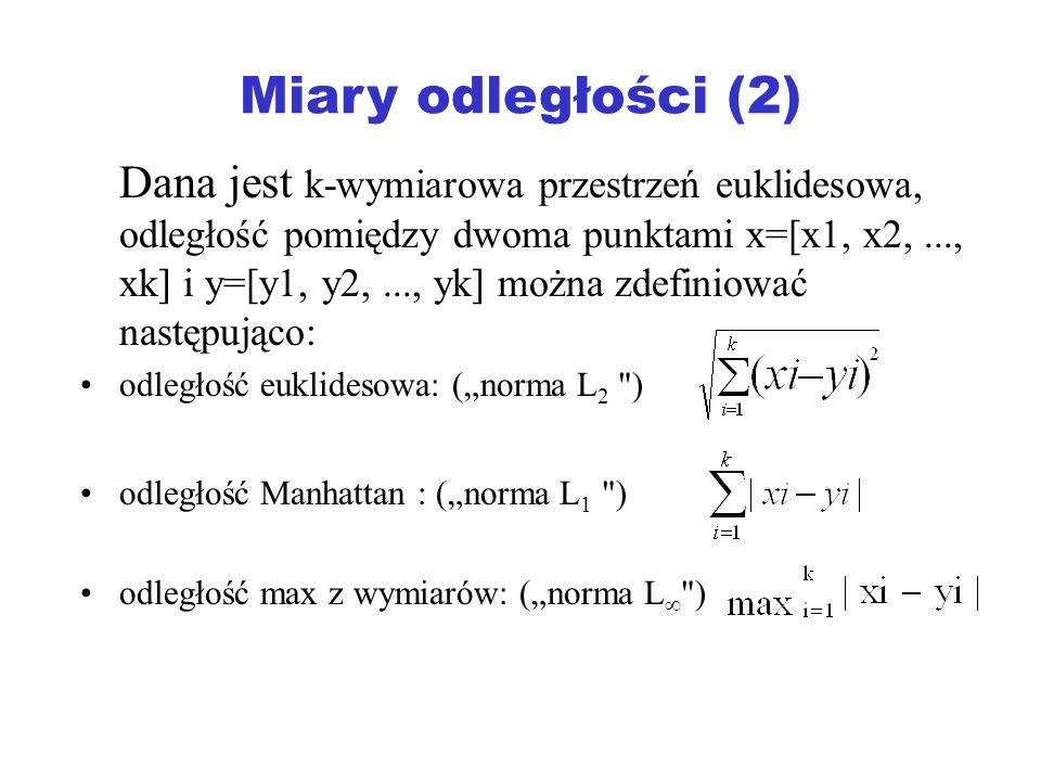 Miary odległości (2) Dana jest k-wymiarowa przestrzeń euklidesowa, odległość pomiędzy dwoma punktami x=[x1, x2,..., xk] i y=[y1, y2,..., yk] można zde