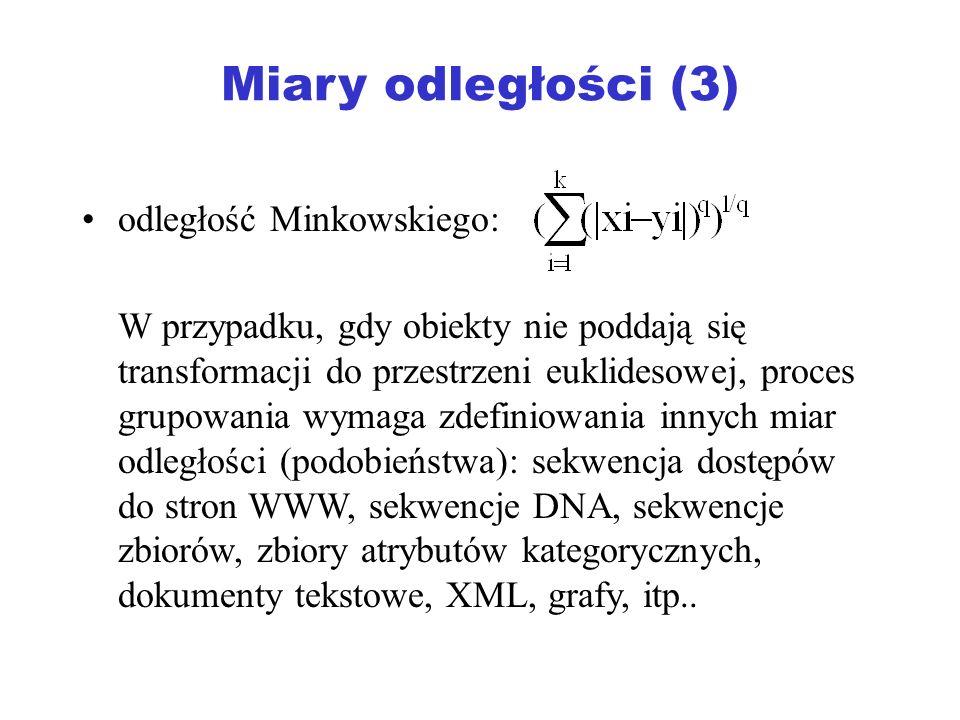 Miary odległości (3) odległość Minkowskiego: W przypadku, gdy obiekty nie poddają się transformacji do przestrzeni euklidesowej, proces grupowania wym