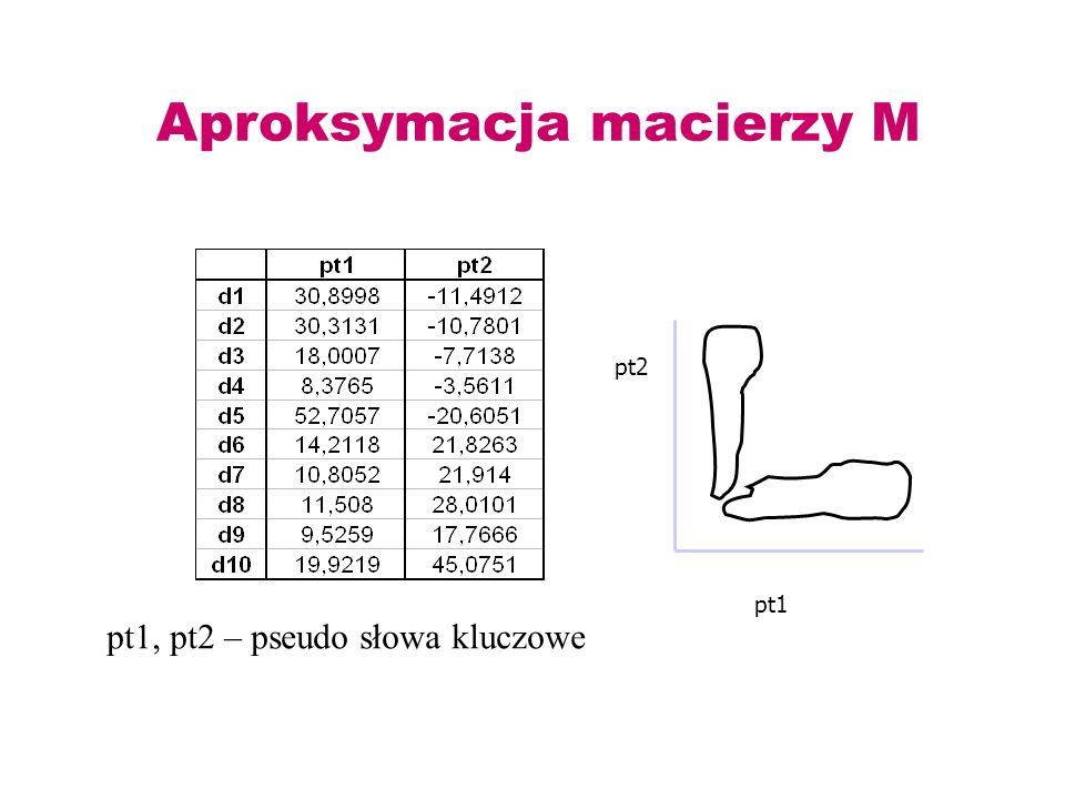 Aproksymacja macierzy M pt1 pt2 pt1, pt2 – pseudo słowa kluczowe