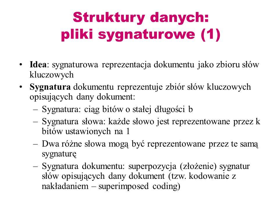 Struktury danych: pliki sygnaturowe (1) Idea: sygnaturowa reprezentacja dokumentu jako zbioru słów kluczowych Sygnatura dokumentu reprezentuje zbiór s