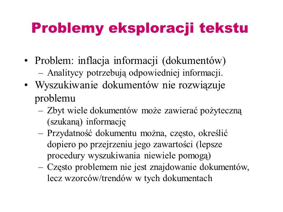 Problemy eksploracji tekstu Problem: inflacja informacji (dokumentów) –Analitycy potrzebują odpowiedniej informacji. Wyszukiwanie dokumentów nie rozwi