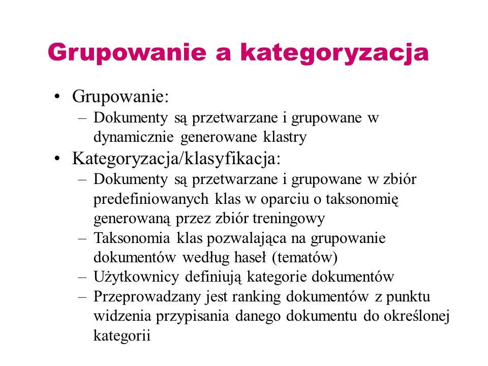 Grupowanie a kategoryzacja Grupowanie: –Dokumenty są przetwarzane i grupowane w dynamicznie generowane klastry Kategoryzacja/klasyfikacja: –Dokumenty