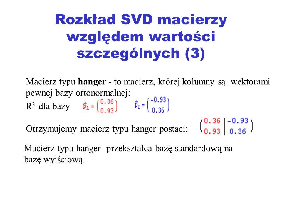 Rozkład SVD macierzy względem wartości szczególnych (3) Macierz typu hanger - to macierz, której kolumny są wektorami pewnej bazy ortonormalnej: R 2 d