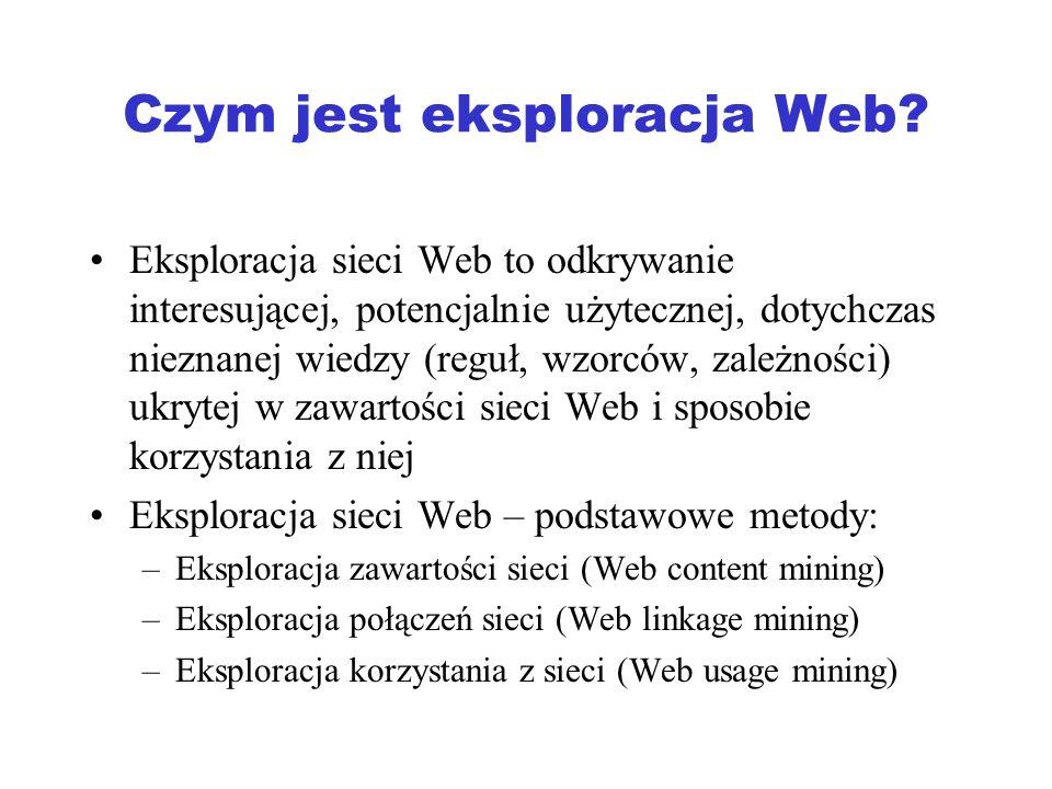 Przykłady zastosowania metod eksploracji Przeszukiwanie sieci: Google, Yahoo, Ask, … Handel elektroniczny: systemy rekomendacyjne (Netflix, Amazon), odkrywanie asocjacji, itp..