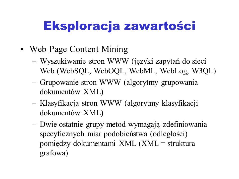Eksploracja połączeń (1) Celem eksploracji połączeń sieci Web: –Ranking wyników wyszukiwania stron WWW –Znajdowanie lustrzanych serwerów Web Problem rankingu - (1970) w ramach systemów IR zaproponowano metody oceny (rankingu) artykułów naukowych w oparciu o cytowania Ranking produktów – ocena jakości produktu w oparciu o opinie innych klientów (zamiast ocen dokonywanych przez producentów)