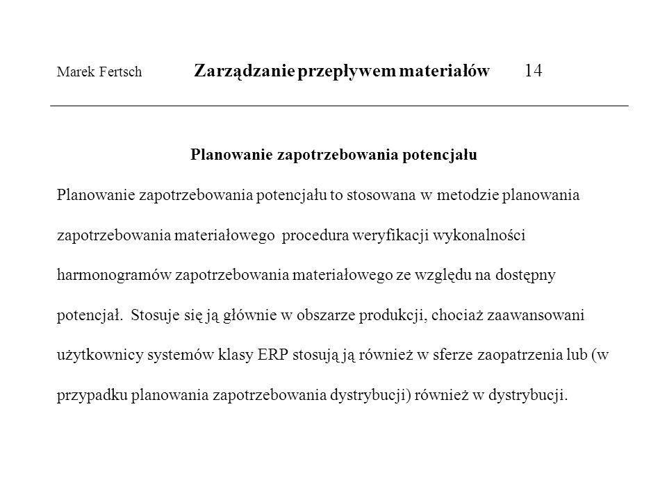 Marek Fertsch Zarządzanie przepływem materiałów 14 Planowanie zapotrzebowania potencjału Planowanie zapotrzebowania potencjału to stosowana w metodzie