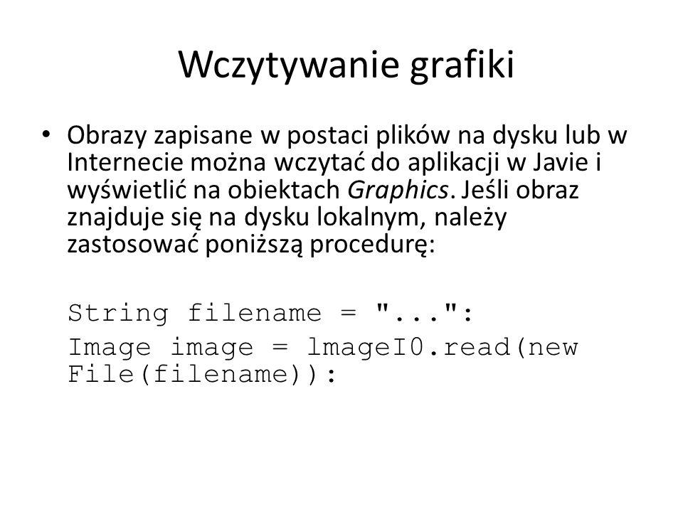 Wczytywanie grafiki W przypadku obrazu z adresu URL: String urlname = ... Image image = ImageI0.read(new URL(urlname)): Metoda read powoduje wyjątek l0Excepti on, jeśli obraz jest niedostępny.