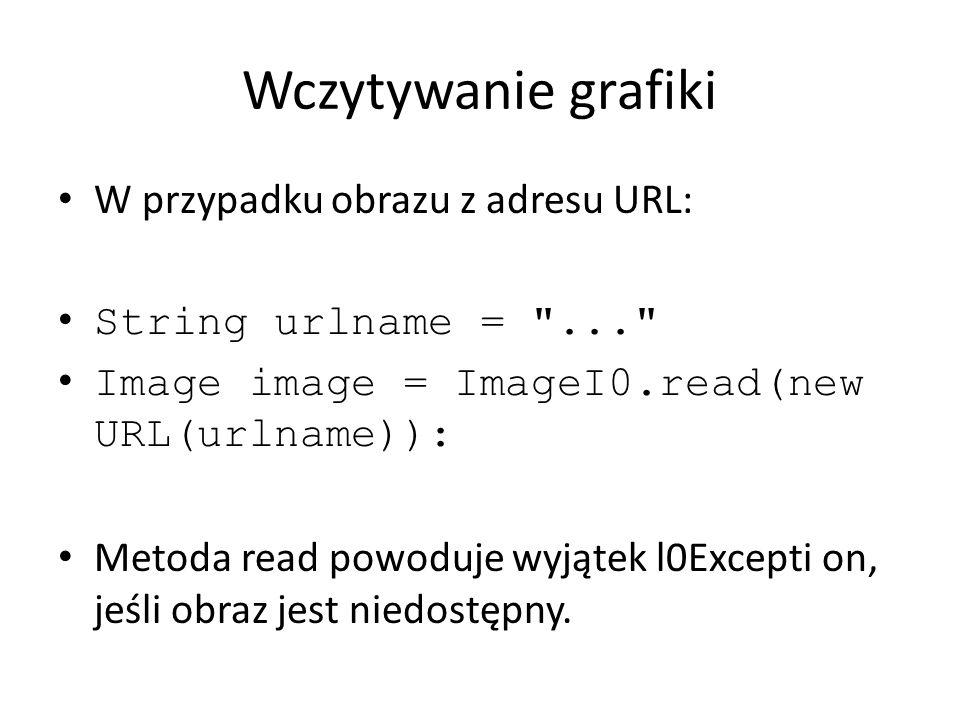 Wczytywanie grafiki W przypadku obrazu z adresu URL: String urlname =