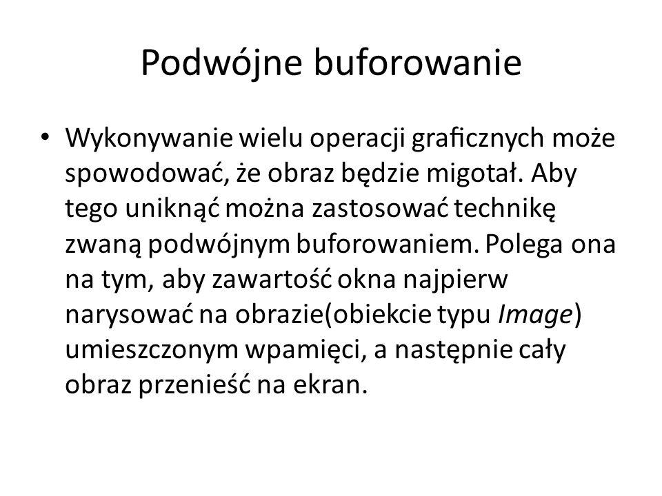 Przykład import java.applet.*; import java.awt.event.*; import java.awt.*; public class DoubleBuffering extends Applet implements MouseMotionListener { Graphics bufferGraphics; Image offscreen; Dimension dim; int curX, curY; public void init() { dim = getSize(); addMouseMotionListener(this); setBackground(Color.black); offscreen = createImage(dim.width,dim.height); bufferGraphics = offscreen.getGraphics(); }