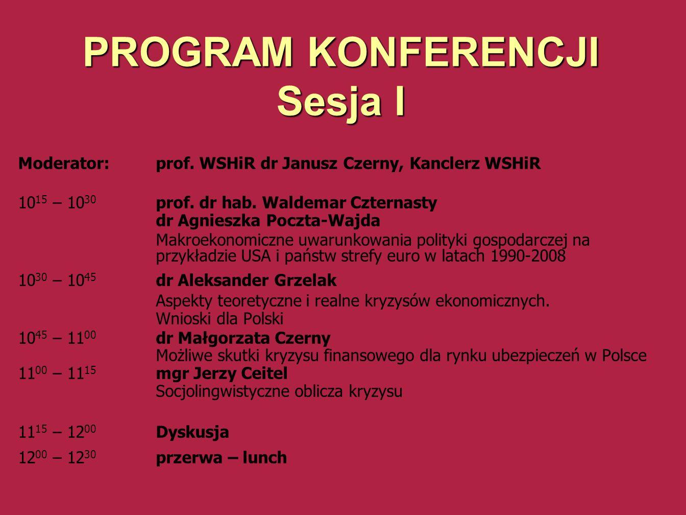 PROGRAM KONFERENCJI Sesja II Moderator: dr Maria Beyga-Cegiołka, Prorektor WSHiR 12 30 – 12 45 dr Maria Beyga-Cegiołka, prof.