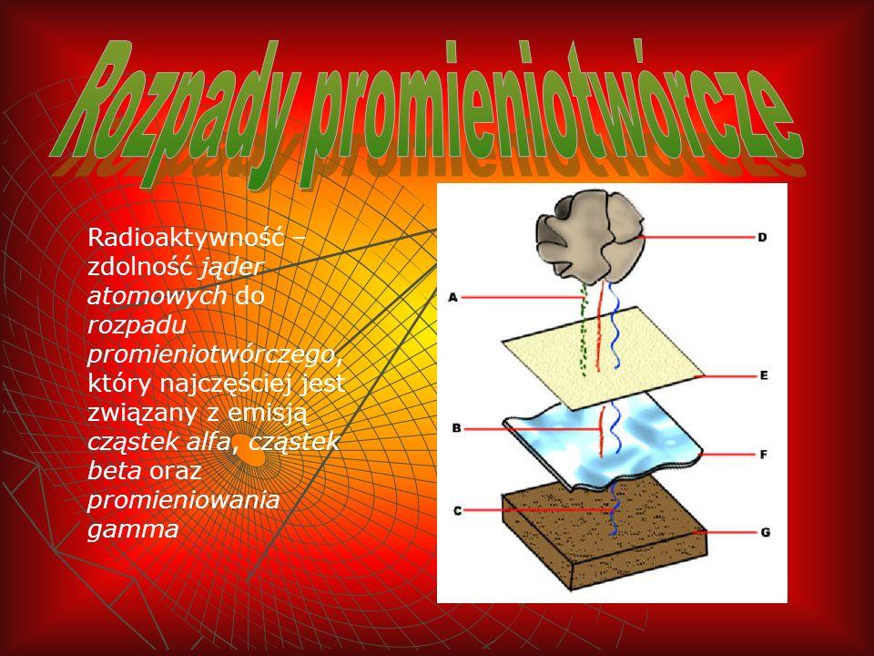 Radioaktywność – zdolność jąder atomowych do rozpadu promieniotwórczego, który najczęściej jest związany z emisją cząstek alfa, cząstek beta oraz prom