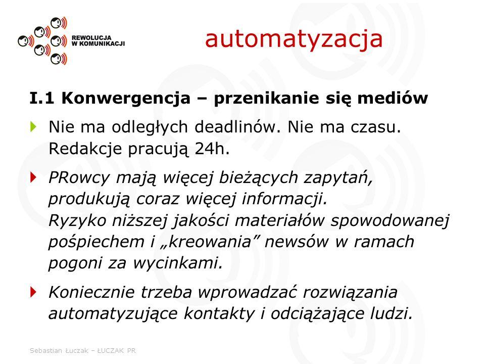 Sebastian Łuczak – ŁUCZAK PR automatyzacja I.1 Konwergencja – przenikanie się mediów Nie ma odległych deadlinów. Nie ma czasu. Redakcje pracują 24h. P