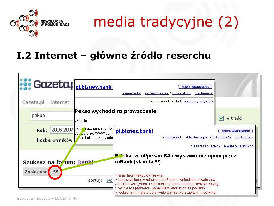 Sebastian Łuczak – ŁUCZAK PR media tradycyjne (2) I.2 Internet – główne źródło reserchu