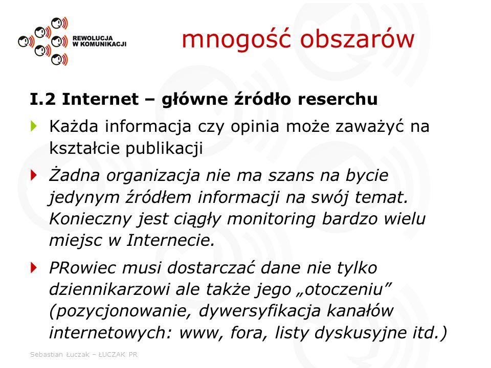 Sebastian Łuczak – ŁUCZAK PR mnogość obszarów I.2 Internet – główne źródło reserchu Każda informacja czy opinia może zaważyć na kształcie publikacji Ż