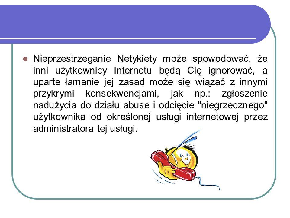 Nieprzestrzeganie Netykiety może spowodować, że inni użytkownicy Internetu będą Cię ignorować, a uparte łamanie jej zasad może się wiązać z innymi przykrymi konsekwencjami, jak np.: zgłoszenie nadużycia do działu abuse i odcięcie niegrzecznego użytkownika od określonej usługi internetowej przez administratora tej usługi.