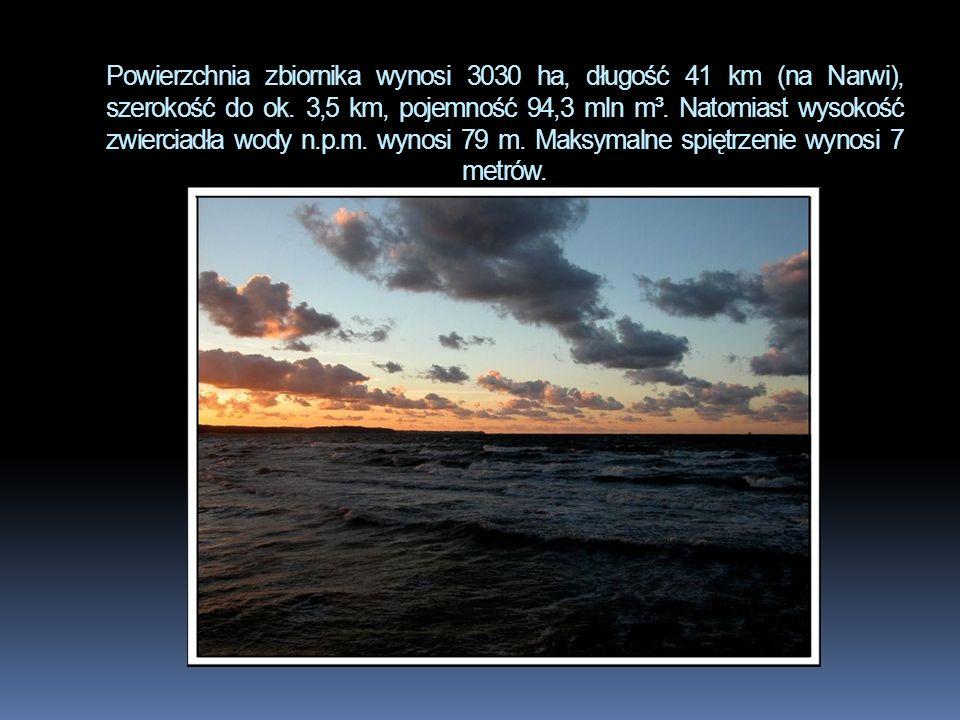 Powierzchnia zbiornika wynosi 3030 ha, długość 41 km (na Narwi), szerokość do ok.
