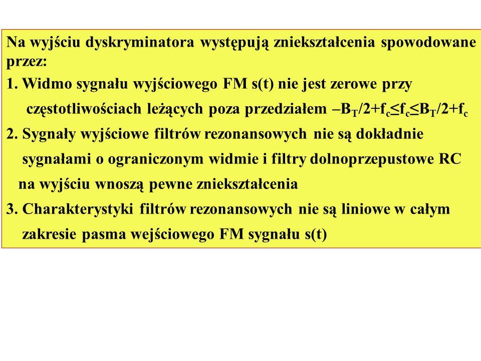 Na wyjściu dyskryminatora występują zniekształcenia spowodowane przez: 1. Widmo sygnału wyjściowego FM s(t) nie jest zerowe przy częstotliwościach leż