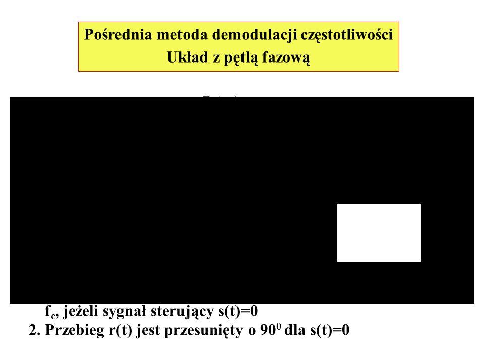Pośrednia metoda demodulacji częstotliwości Układ z pętlą fazową Oscylator sterowany napięciem (VCO) spełnia warunki: 1. Jego częstotliwość jest dokła