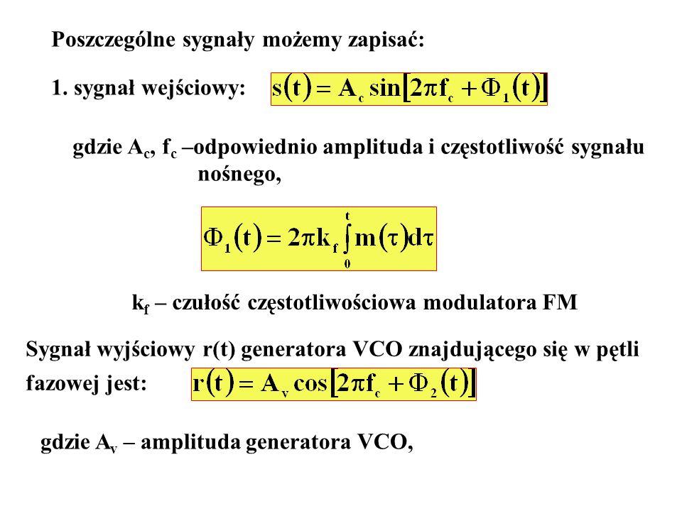 Poszczególne sygnały możemy zapisać: 1. sygnał wejściowy: gdzie A c, f c –odpowiednio amplituda i częstotliwość sygnału nośnego, k f – czułość częstot