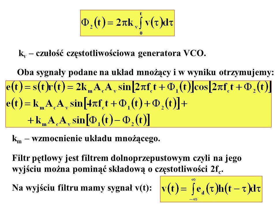 k v – czułość częstotliwościowa generatora VCO. Oba sygnały podane na układ mnożący i w wyniku otrzymujemy: k m – wzmocnienie układu mnożącego. Filtr