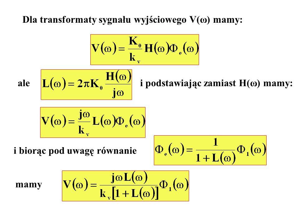 Dla transformaty sygnału wyjściowego V(ω) mamy: alei podstawiając zamiast H(ω) mamy: i biorąc pod uwagę równanie mamy
