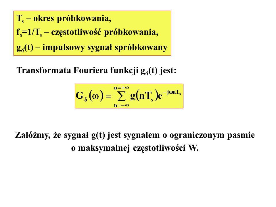 T s – okres próbkowania, f s =1/T s – częstotliwość próbkowania, g δ (t) – impulsowy sygnał spróbkowany Transformata Fouriera funkcji g δ (t) jest: Za