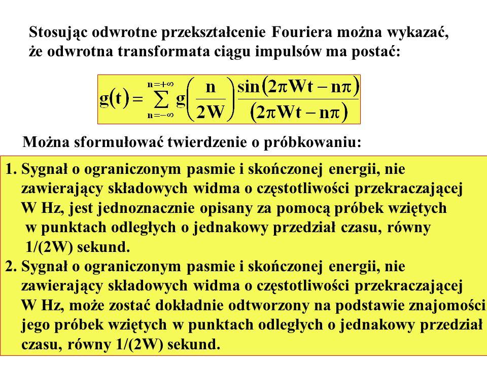 Stosując odwrotne przekształcenie Fouriera można wykazać, że odwrotna transformata ciągu impulsów ma postać: Można sformułować twierdzenie o próbkowan