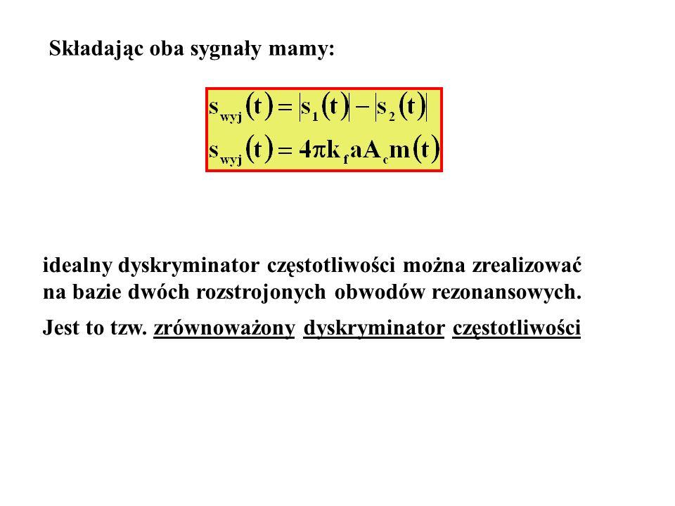 Składając oba sygnały mamy: idealny dyskryminator częstotliwości można zrealizować na bazie dwóch rozstrojonych obwodów rezonansowych. Jest to tzw. zr