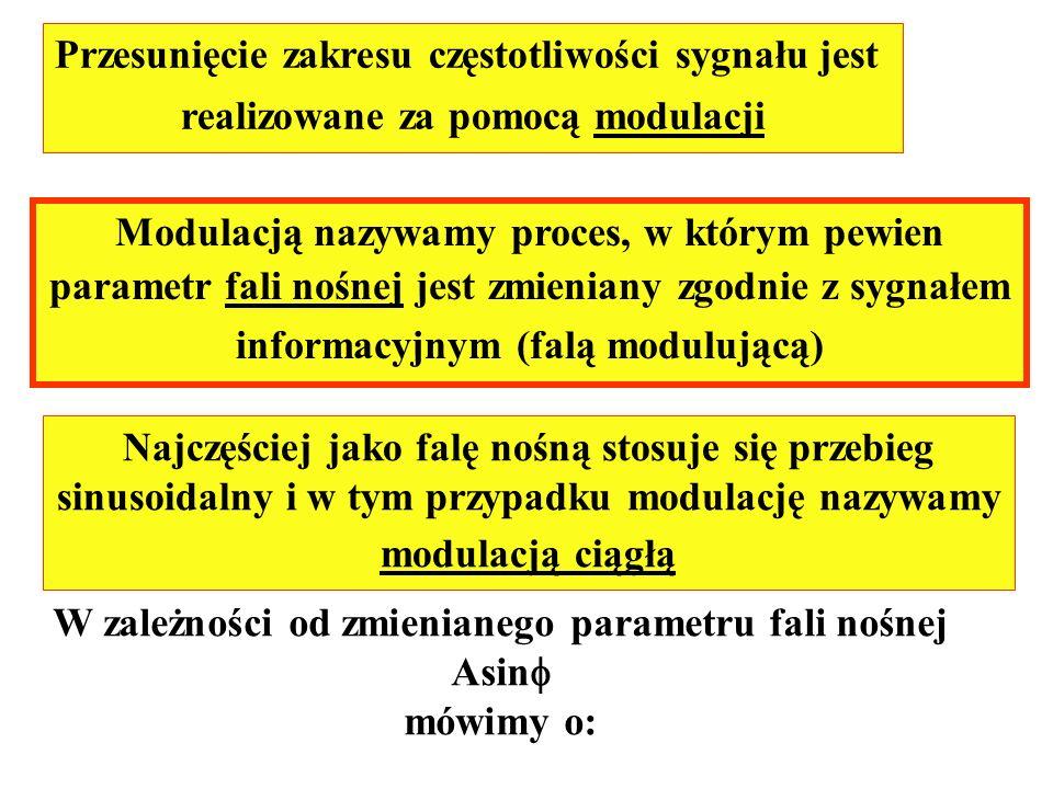 Przesunięcie zakresu częstotliwości sygnału jest realizowane za pomocą modulacji Modulacją nazywamy proces, w którym pewien parametr fali nośnej jest