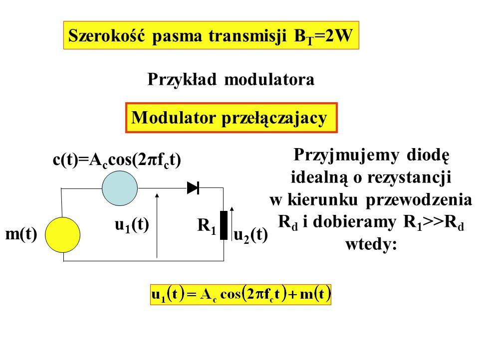 Szerokość pasma transmisji B T =2W Przykład modulatora Modulator przełączajacy m(t) c(t)=A c cos(2πf c t) u 1 (t) u 2 (t) R1R1 Przyjmujemy diodę ideal