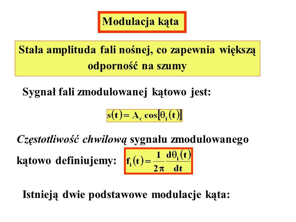 Modulacja kąta Stała amplituda fali nośnej, co zapewnia większą odporność na szumy Sygnał fali zmodulowanej kątowo jest: Częstotliwość chwilową sygnał