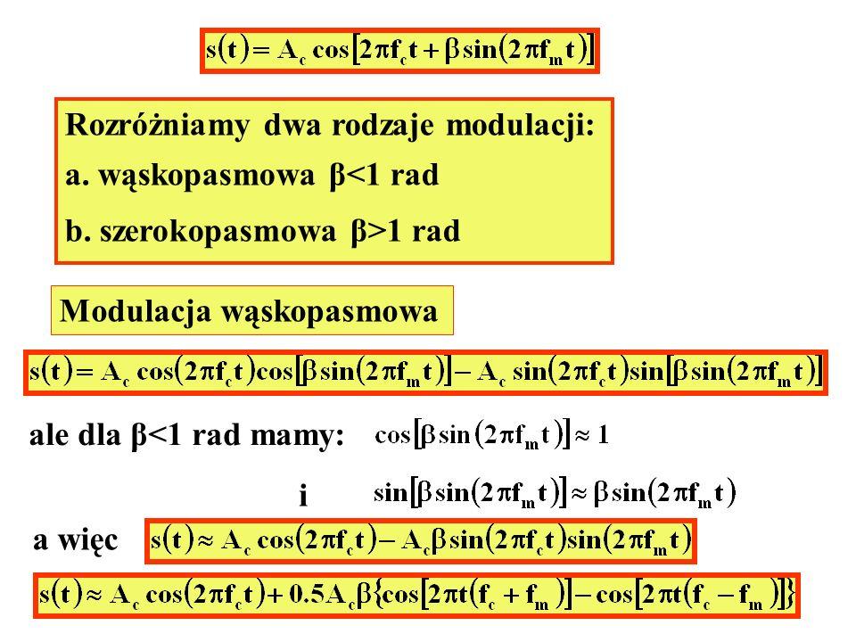 Rozróżniamy dwa rodzaje modulacji: a. wąskopasmowa β<1 rad b. szerokopasmowa β>1 rad Modulacja wąskopasmowa ale dla β<1 rad mamy: i a więc lub