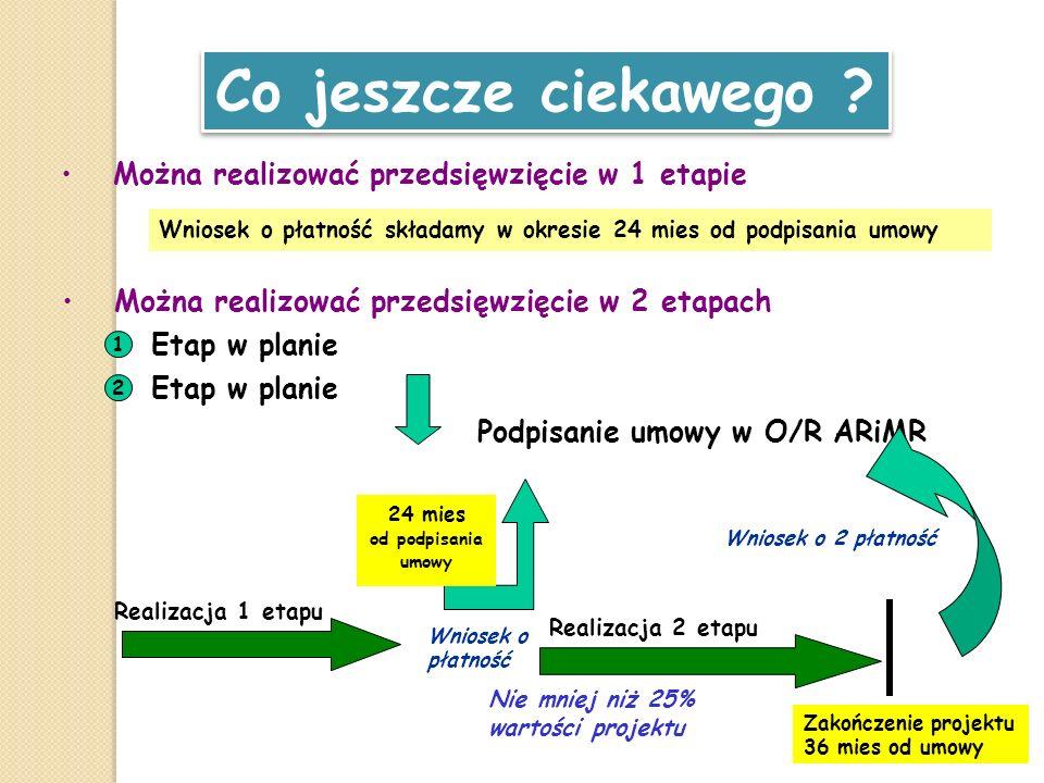 Można realizować przedsięwzięcie w 2 etapach Co jeszcze ciekawego ? 1 Etap w planie 2 Podpisanie umowy w O/R ARiMR Realizacja 2 etapu Zakończenie proj