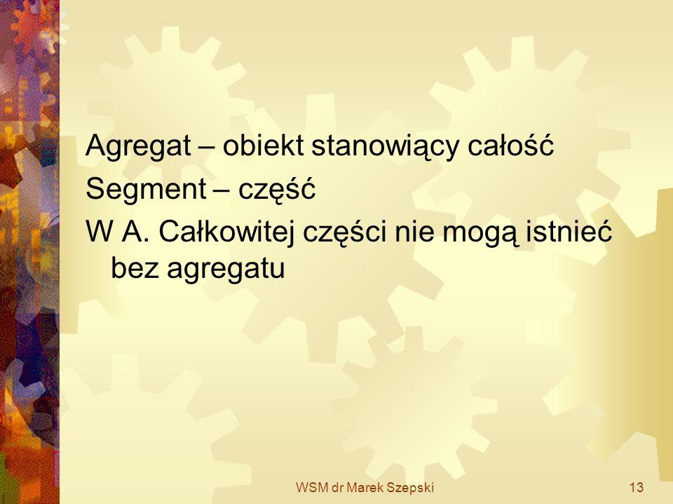 WSM dr Marek Szepski13 Agregat – obiekt stanowiący całość Segment – część W A. Całkowitej części nie mogą istnieć bez agregatu