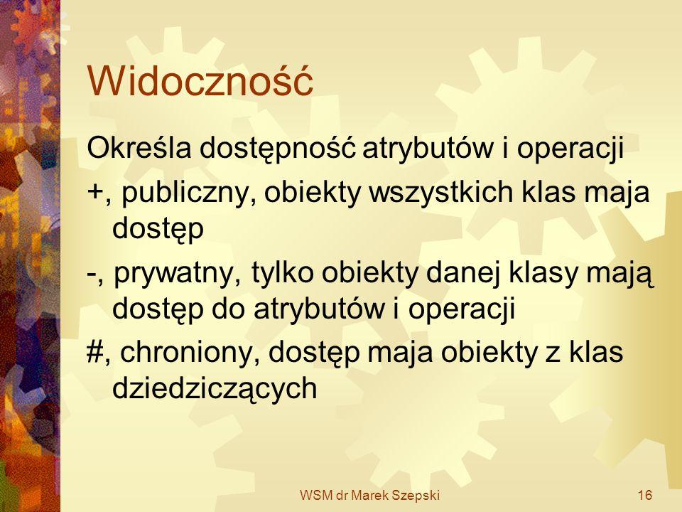 WSM dr Marek Szepski16 Widoczność Określa dostępność atrybutów i operacji +, publiczny, obiekty wszystkich klas maja dostęp -, prywatny, tylko obiekty