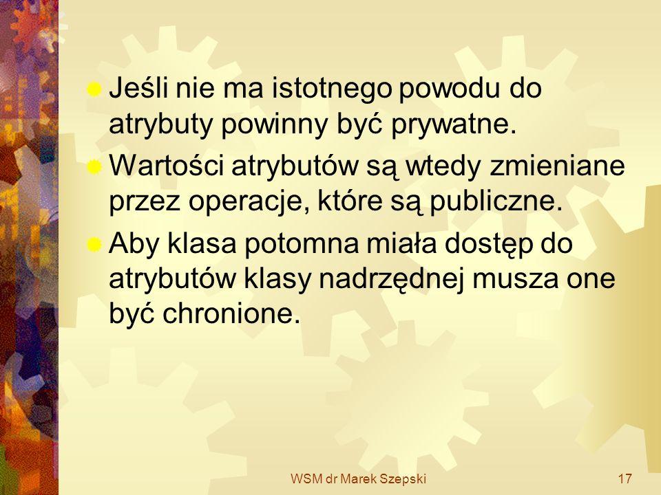 WSM dr Marek Szepski17 Jeśli nie ma istotnego powodu do atrybuty powinny być prywatne. Wartości atrybutów są wtedy zmieniane przez operacje, które są