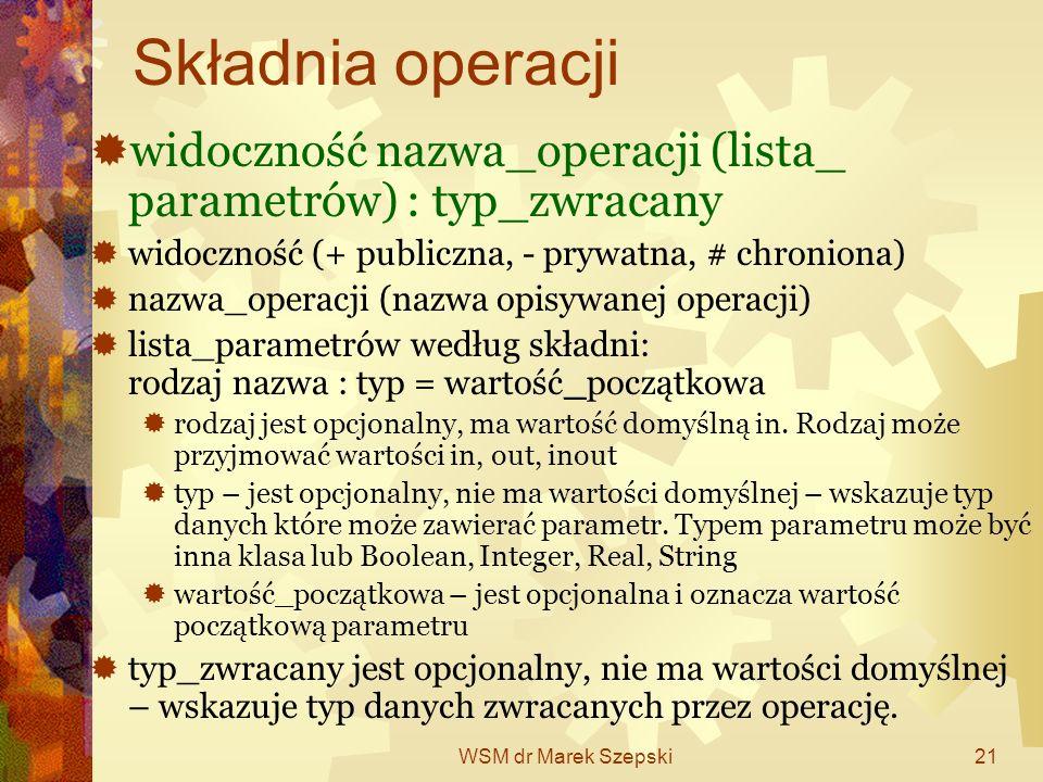 WSM dr Marek Szepski21 Składnia operacji widoczność nazwa_operacji (lista_ parametrów) : typ_zwracany widoczność (+ publiczna, - prywatna, # chroniona