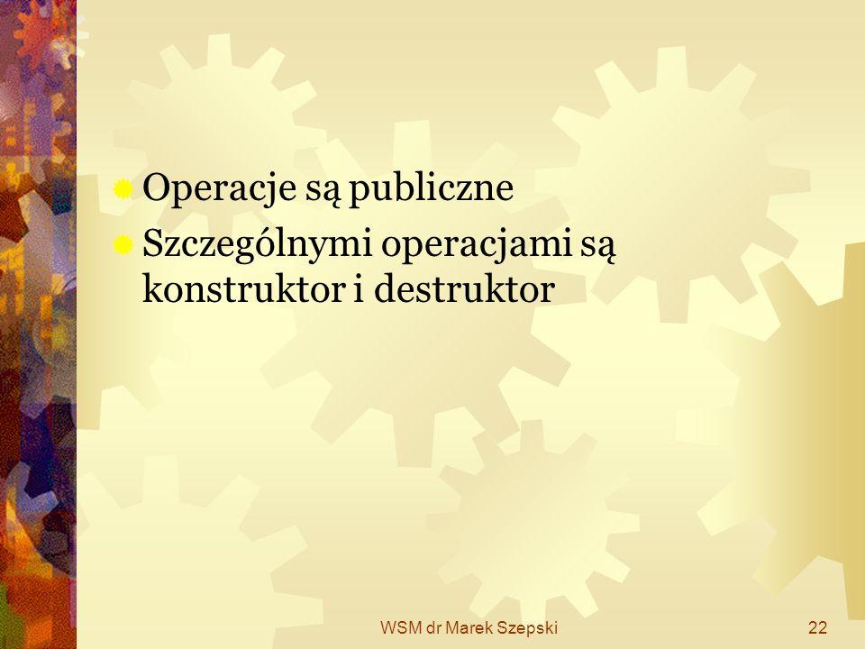 WSM dr Marek Szepski22 Operacje są publiczne Szczególnymi operacjami są konstruktor i destruktor