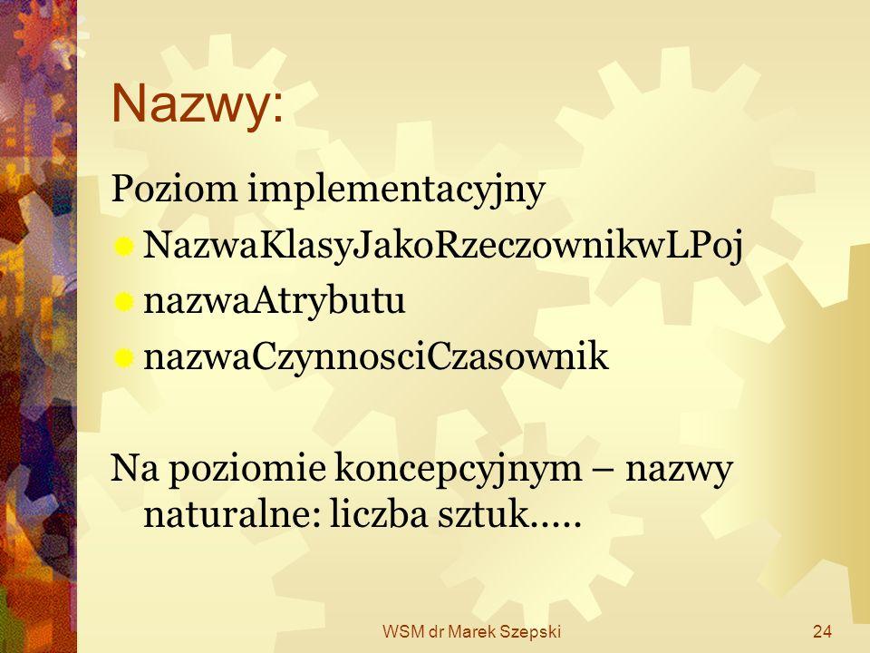 WSM dr Marek Szepski24 Nazwy: Poziom implementacyjny NazwaKlasyJakoRzeczownikwLPoj nazwaAtrybutu nazwaCzynnosciCzasownik Na poziomie koncepcyjnym – na